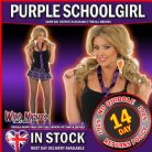 Ladies XS Purple Tartan School Girl Skirt & Tie For School Girl Fancy Dress